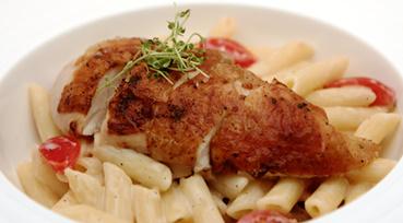 Grillet timian kylling med cremet citronpasta