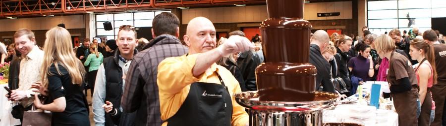 chokolade fontæne med gratis smagsprøve