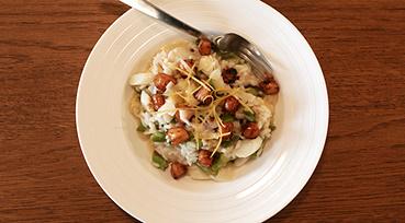 Citron risotto m. asparges og kammuslinger