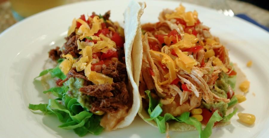 tortilla med kylling og oksekød