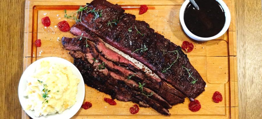 flapmeat steak med grov mos