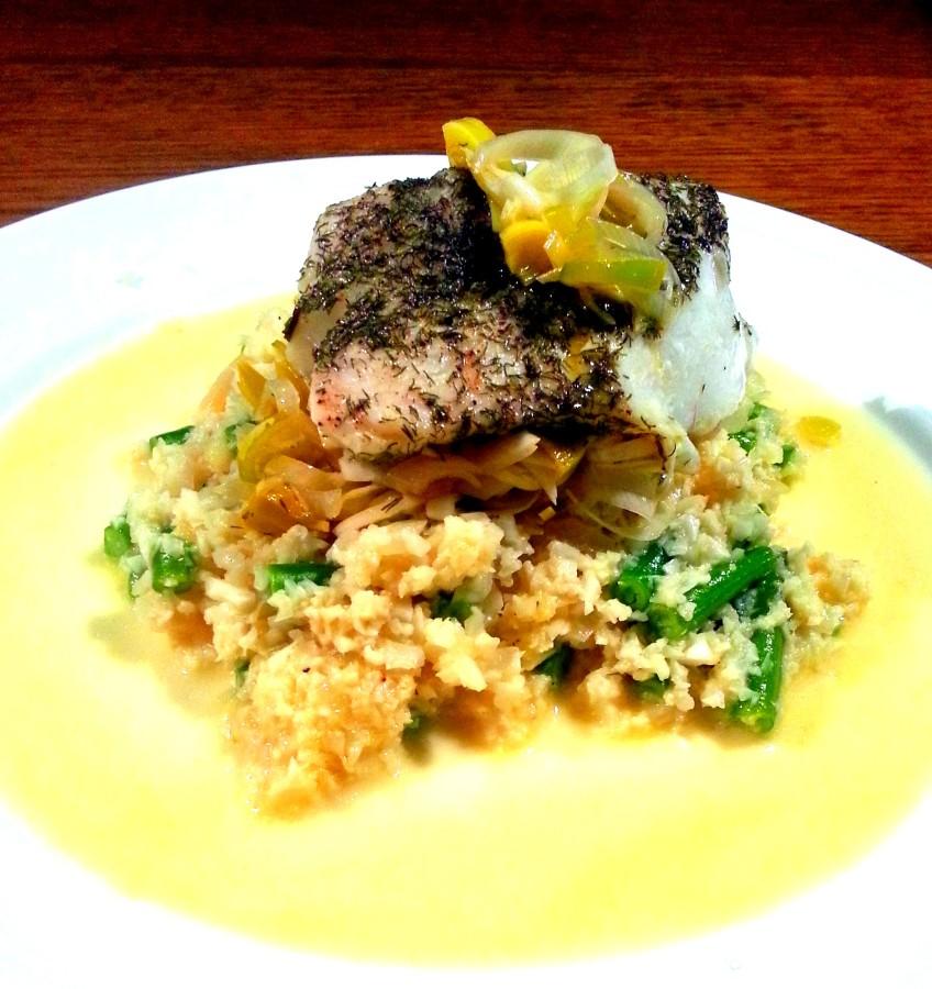 smørdampet torsk med blomkålsrisotto